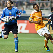 Union Keeper Faryd Mondragon #1 retains procession of the ball after making a save during Saturday MLS regular season match between The Philadelphia Union and The Houston Dynamo.  The Dynamo and The Philadelphia Union played to a 1-1 tie. Saturday Aug. 6, 2011. at PPL Park in Chester PA...The News Journal/SAQUAN STIMPSON