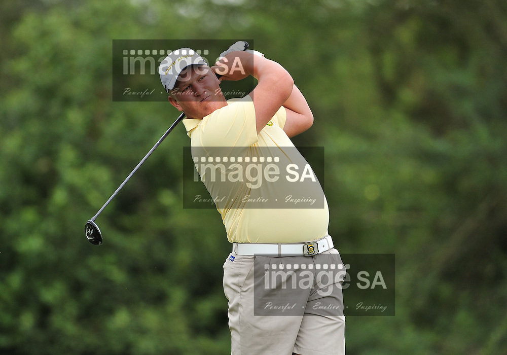 MALELANE, SOUTH AFRICA - Wednesday 18 February 2015, Tristen Strydom of South Africa tees off on the 4th during the first round foursomes of the annual Leopard Trophy, a two day test between teams of the South African Golf Association and the Scottish Golf Union, at the Leopard Creek Golf Estate.<br /> Photo Roger Sedres/ Image SA