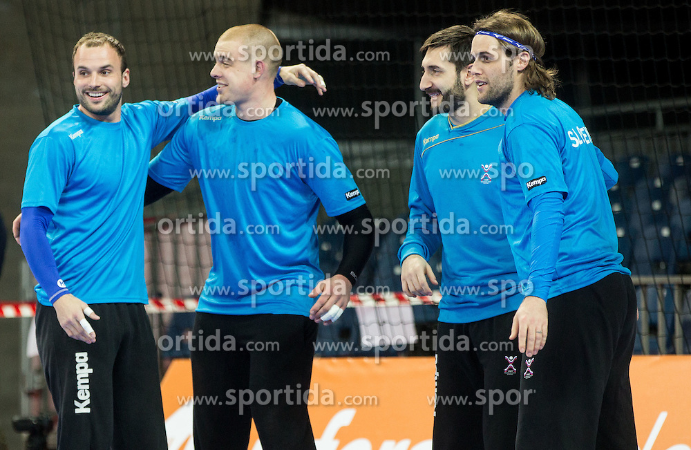 Uros Zorman of Slovenia, Matej Gaber of Slovenia, Dragan Gajic of Slovenia and Dean Bombac of Slovenia during practice session of Team Slovenia on Day 1 of Men's EHF EURO 2016, on January 15, 2016 in Centennial Hall, Wroclaw, Poland. Photo by Vid Ponikvar / Sportida