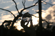 Woman's hand holding a crystal ball reflecting the view behind it.