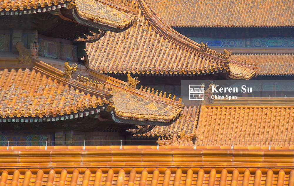 Glazed roof top, Forbidden City, Beijing, China