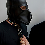 S&M Bondage Dog and master at Folsom Street East, S&M-leather-fetish themed street festival.