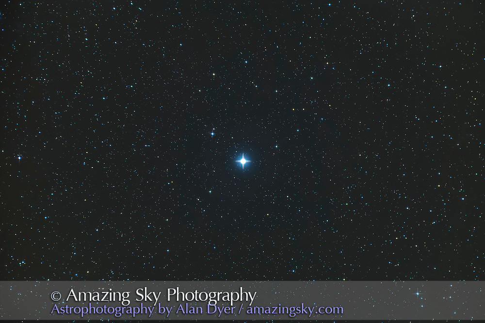 Polaris, the Pole Star or the North Star, as shot through a telescope with a field of about 4 x 2.5 degrees. Polaris is both a double star and a Cepheid variable star with small amplitude in light variation. <br /> <br /> This is a stack of 18 x 1.5 minute exposures at ISO 3200 with the Canon 6D and TMB 92mm apo refractor with the Hotech field flattener. Many short exposures at high ISOs used to minimize trailing from rotation around the guide star shooting so close to the Pole, indeed at the Pole.
