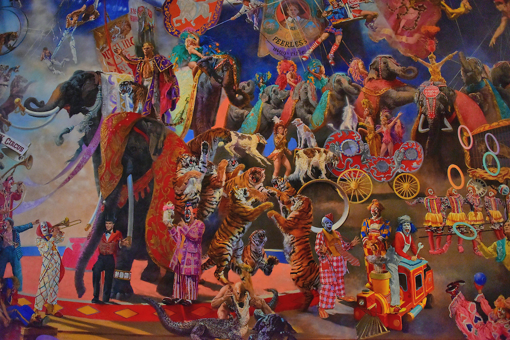 Giant Circus Mural at Ringling Museum of Art in Sarasota, Florida <br /> This mural called &ldquo;The Greatest Show on Earth&rdquo; brilliantly captures the iconic sights from the Ringling Brothers and Barnum &amp; Bailey Circus.  It was painted by William Woodward in 1989. In 2013, it was put on public display inside the lobby of the Tibbals Learning Center in the Circus Museum which is part of the Ringling Museum of Art. This 22 by 42 foot painting is filled with tigers, clowns, dancing elephants, trapeze artists and all the other acts that thrilled you as a kid when you sat under the big top.