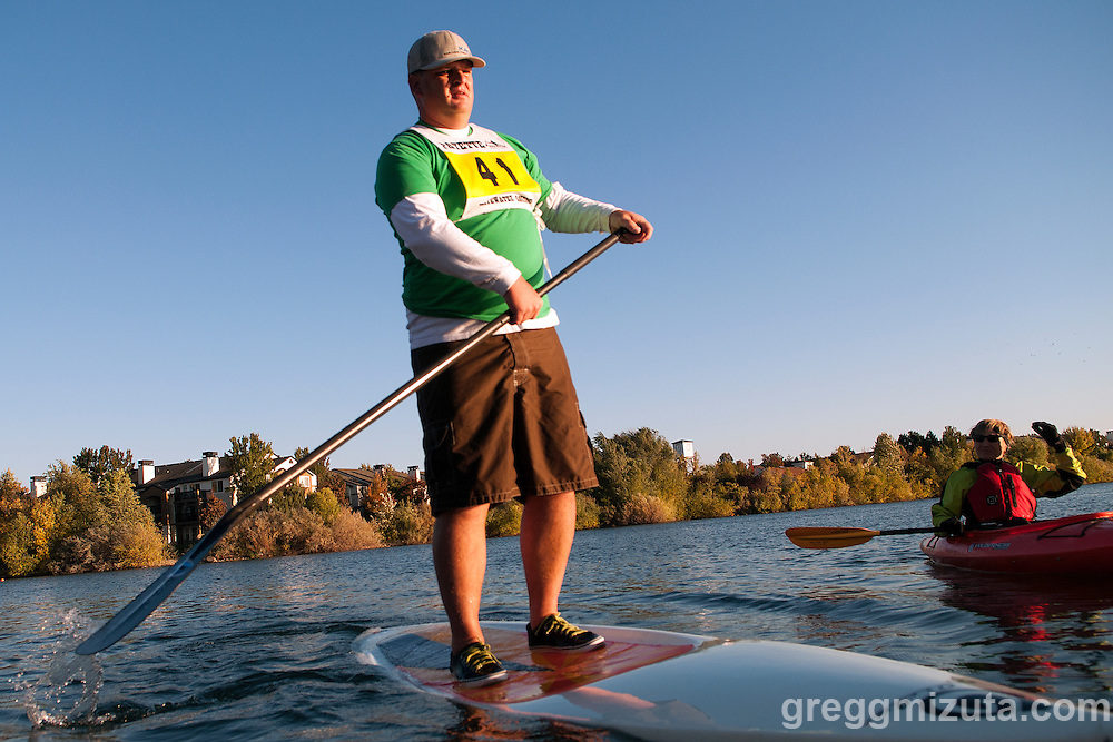 Idaho River Sports Fall Paddle Classic at Quinn's Pond in Boise, Idaho on October 17, 2013. The event is a race series that features  distance races, an obstacle course, and head to head sprint races for canoes, kayaks and SUP's.