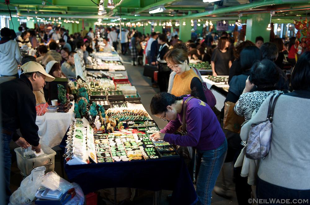 Jade jewelery and handi-crafts for sale at the Taipei Jade Market.