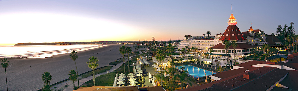 Panorama of the Hotel del Coronado on the beach near San Diego, California.