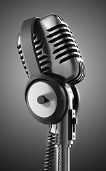 Black & White 50's microphone with headphones & clipping path included for those who need a different background.