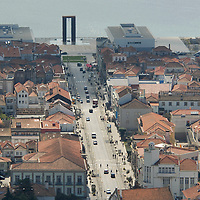 View of Viana do Castello from the top of the mountain, next to the Temple of Saint Lucia (Luzia)