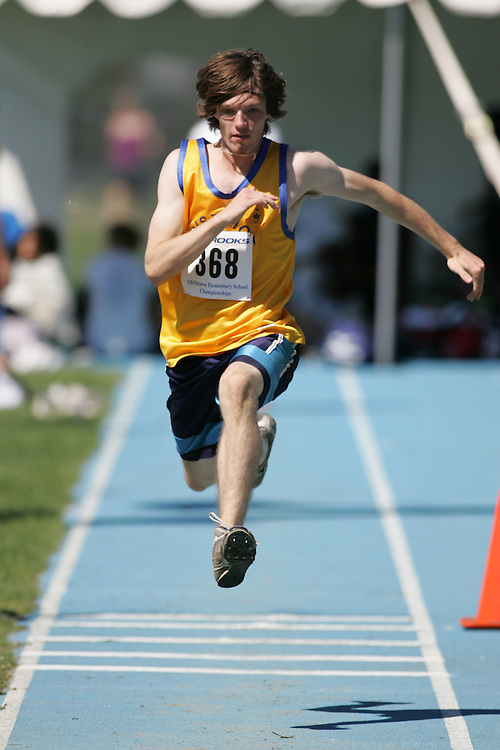 Jordan Rainey competing in the triple jump at the 2007 Ontario Legion Track and Field Championships. The event was held in Ottawa on July 20 and 21.