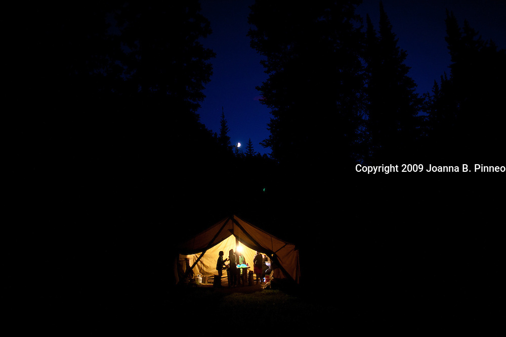 City Kids Camp near Jackson Hole Wyoming. The kids camp out in Bridger -Teton National Park.