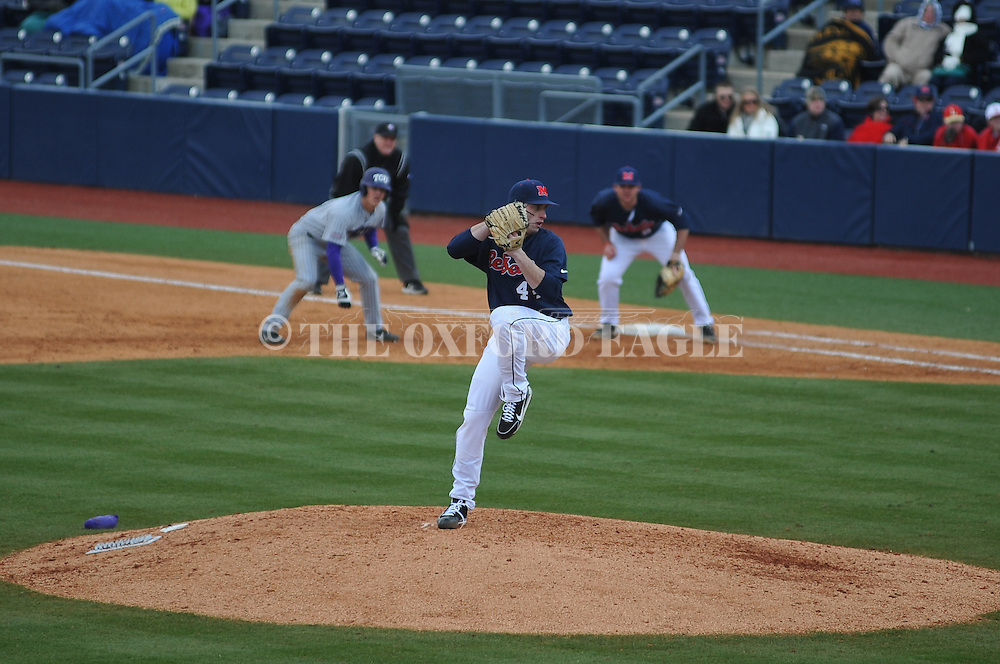 Ole Miss' Aaron Greenwood (44) pitches vs. TCU at Oxford-University Stadium on Saturday, February 16, 2013. Ole Miss won 5-2.