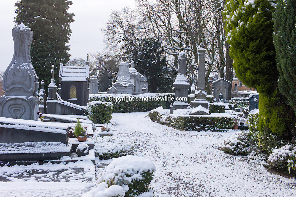 Belgium Brussels 2013 january 13 snow falls in Europe. The famous cemetary of Elsene covered in snow