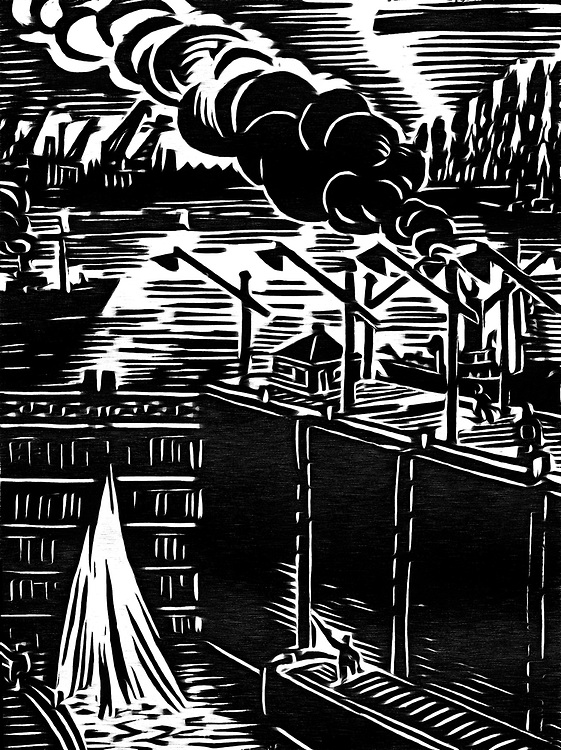 A black / white drawing of a lock in the port.