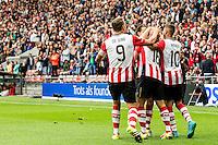 EINDHOVEN - PSV - FC Groningen , Voetbal , Seizoen 2015/2016 , Eredivisie , Philips stadion , 16-08-2015 , Spelers vieren de 1-0 van PSV speler Luciano Narsingh