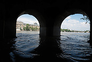 Paris . Flooding . The Seine river.   the tunnel under the Caroussel Bridge? in the ditance the Louvre museum