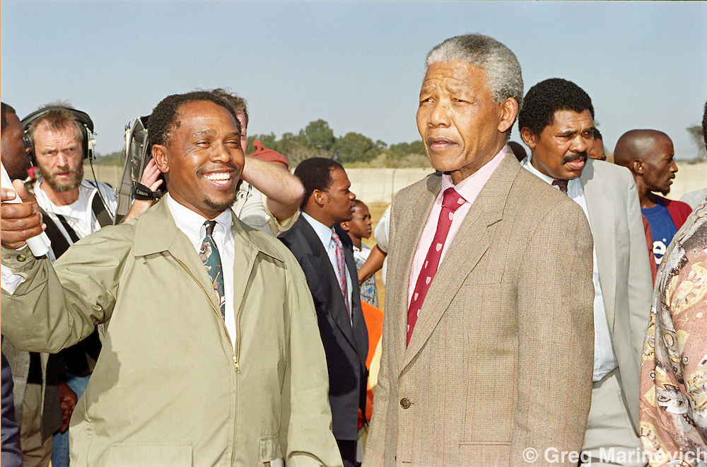 Boipatong, Vaal, Transvaal, South Africa. ANC President Nelson Mandela and Tokyo Sexale at Boipatong / Evaton 21 June 1992