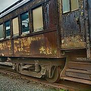 Retired passenger railroad car at Steamtown, USA, National Park.