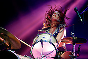 Drummer Julie Edwards of American rock duo, Deep Vally performs live on the NME/Radio 1  stage during day one of Reading Festival at Richfield Avenue on August 23, 2013 in Reading, England.  (Photo by Simone Joyner)