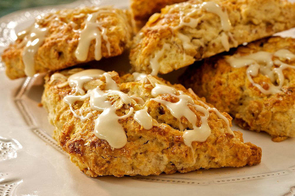 Glazed maple-pecan oatmeal scones made with Crown Maple Syrup
