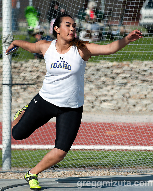 College of Idaho junior Jessica Aguilar during the Cascade Conference Championships on May 9, 2014 at Northwest Nazarene University, Nampa, Idaho. Aguilar placed eighth in the discus event with a throw of 37.01m (121-5.25).