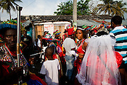 Dominican Republic: Mayores (Dance Majors) and a Reina (Queen) at the GaGá  procession of El GaGá de San Luis on the outskirts of Santo Domingo...