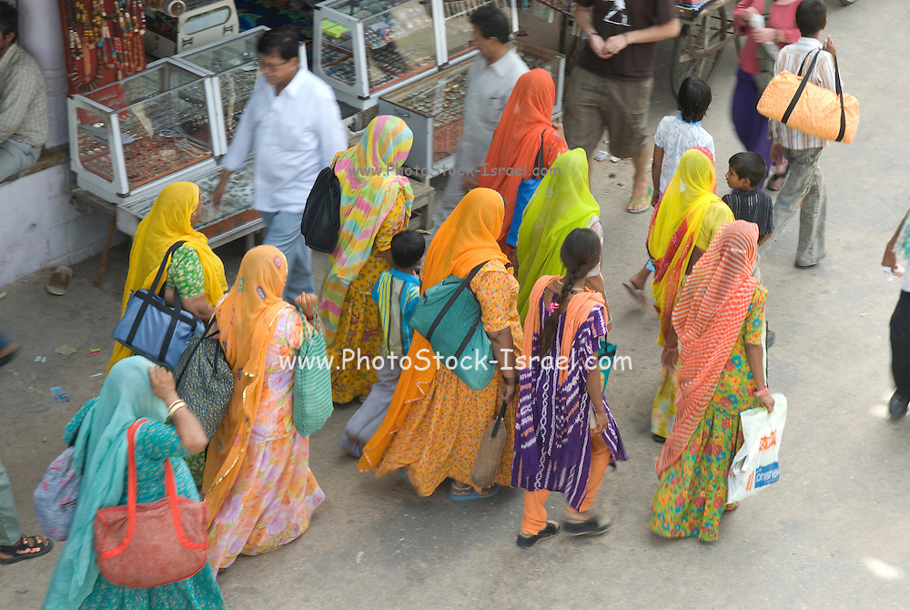 India, Rajasthan, Pushkar people in the street market