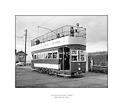 Howth Tram.20/12/1956..Colloquially known as the Howth Tram, this tramway operated from June 1901 to 31st of May 1959 and served Howth Head, near Dublin, Ireland. The service was run by the Great Northern Railway (Ireland) (GNR(I)), which viewed it as a way to bring more customers to its railway stations at Sutton and Howth.