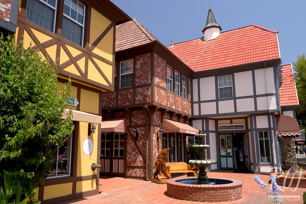 Danish Architecture Half-Timbered House Courtyard, Solvang, California