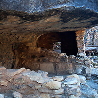 North America, USA, Arizona, Walnut Canyon. Cliff dwelling at Walnut Canyon National Monument.
