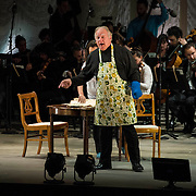 """Kim Josephson (baritone) as """"Charles Rosen"""" in the world premiere of Steven Stucky and Jeremy Denk's The Classical Style: An Opera (of Sorts) at the 68th Ojai Music Festival at Libbey Bowl on June 13, 2014 in Ojai, California."""