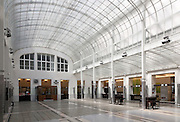 Main hall with glass roof and glass block floor. Post Office Savings Bank, Vienna, Austria 1904-12 Architect: Otto Wagner