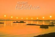Alaska.  Arctic Midnight Sun (multiple exposure).  Composite image.