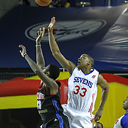 Delaware 87ers Forward JR Inman (33) and Springfield Armor Forward Willie Reed (33) fight for possession of the ball in the course of a NBA D-league regular season basketball game between the Delaware 87ers (76ers) and the Springfield Armor (Nets) Saturday, Dec. 28, 2013 at The Bob Carpenter Sports Convocation Center, Newark, DE