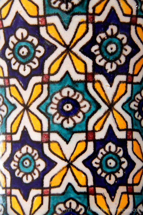 Africa, Morocco. Traditional Moroccan painted glazed ceramic detail.