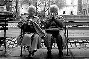 These wonderful ladies were sitting on a bench near Central Park in New York City.