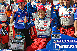 LONG BEACH, CA - APR 20: Indycar driver of A.J. Foyt Racing Team Takuma Sato won the 2013 Grand Prix of Long Beach. This is his first career Indy car win and he is also the first Japanese driver to win in Indy Car. All fees must be ageed prior to publication, Byline and/or web usage link must  read  PHOTO: © 2013 Eduardo E. Silva