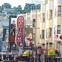 View of the red light district on Broadway in San Francisco.  Mandatory Credit: Dinno Kovic / Dinno Kovic Photography