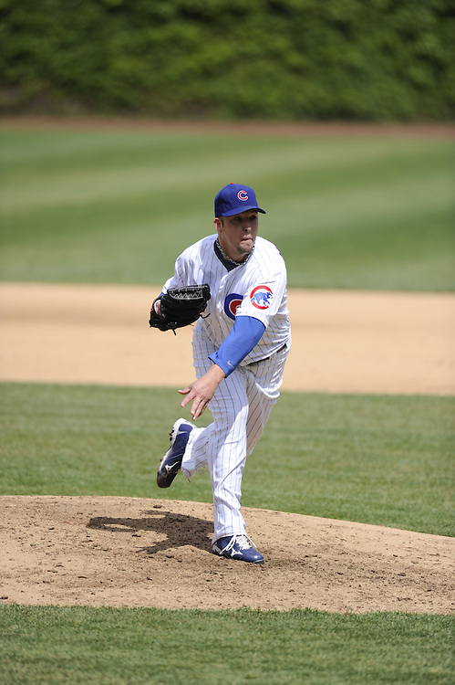 CHICAGO - MAY  04:  Paul Maholm #28 of the Chicago Cubs pitches against the Los Angeles Dodgers on May 4, 2012 at Wrigley Field in Chicago, Illinois.  The Cubs defeated the Dodgers 5-4.  (Photo by Ron Vesely)   Subject:  Paul Maholm