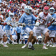 North Carolina Attackman PATRICK KELLY (2) looks to pass the ball as  University of Maryland Midfielder MICHAEL MCCARNEY (31) defends during the second half of The NCAA Division I NATIONAL CHAMPIONSHIP GAME between North Carolina and Maryland, Monday, May. 30, 2016 at Lincoln Financial Field in Philadelphia, Pa