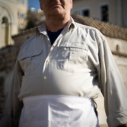 Gavrilo 53 of Athens has been working as a waiter for most of his life. He says that things havent changed too much in his profession, it's just a matter of where you work. Image © Angelos Giotopoulos/Falcon Photo Agency