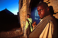 Ethiopian students at the Debre Bizen Monastery, 8,000 feet above sea level and 20kms from Asmara, the capital of Eritrea.<br /> November 1999
