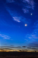 The waning crescent Moon, lit by Earthshine, with four planets on the morning of October 9, 2015, with the planets from bottom left to top right:<br />