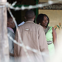 Cathy mingles with community residents at the Gathambara Tea Collection & Buying Centre near Othaya, Kenya.