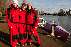 Marlow, Bucks, January 24th 2015. Olympic and Paralympic rowing medallists including Naomi Riches, Heather Stanning and Katherine Grainger join members of a Coxless Crew at Marlow at their boat naming ceremony. The Coxless Crew is a team of four women who have given up their jobs to undertake an epic six-month 8,446 mile adventure rowing their boat Doris across the Pacific ocean from Sanfrancisco to Cairns in Australia, to raise funds for charities Walking With The Wounded and Breast Cancer Care. PICTURED: Coxless Crew members Laura Penhaul, left, Emma Mitchell and Natalia Cohen.