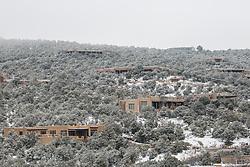 Adobe homes in Santa Fe, NM during the winter season