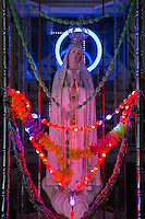 Neon Grotto at Santa Cruz Cochin - which is one of the most important heritage buildings of Kerala. The cathedral was originally built by the Portuguese, destroyed, rebuilt and now Kochi's most important Catholic churches.