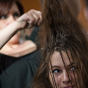 04/20/12 Newark Del. Model Amanda Nickson get her hair done by stylist Ashley Bachman during a dress rehearsal Friday, April. 20, 2012 at The Paul Mitchell school of Delaware Friday, April. 20, 2012 in Newark Del...Special to The News Journal/SAQUAN STIMPSON