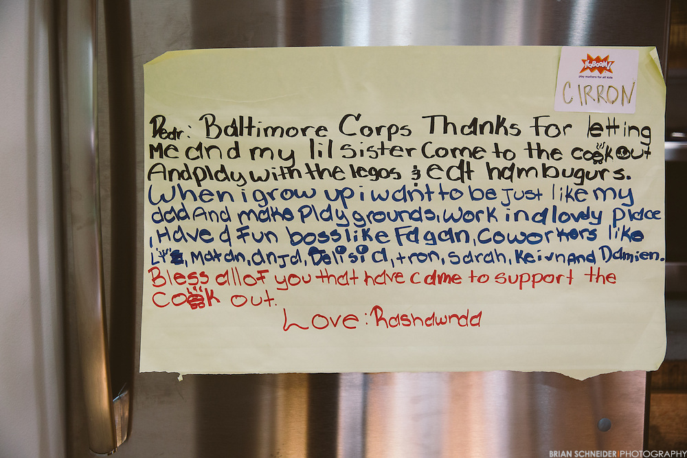 June 1, 2016; Baltimore, MD, USA; A note on the fridge of participant of a recent Play More B'More event. Baltimore Corp is a social entrepreneurship venture connecting leaders and creatives with social enterprises, non-profits and government offices.<br /> <br /> Credit:<br /> Brian Schneider-www.ebrianschneider.com<br /> Instagram - @ebrianschneider<br /> Twitter - @brian_schneider<br /> Facebook - @ebrianschneider