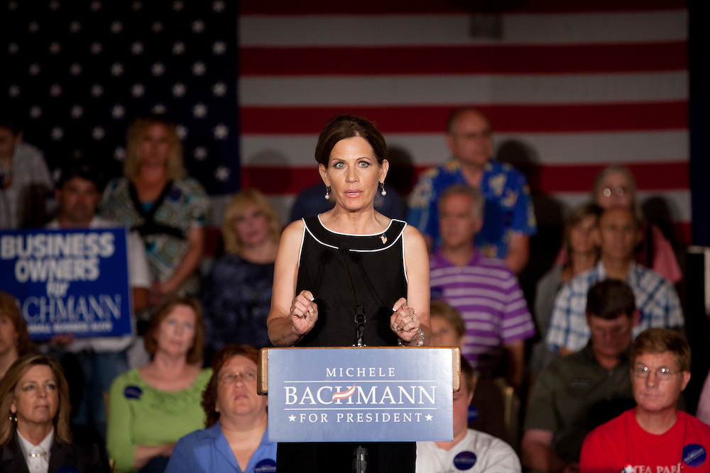 Republican presidential hopeful Michele Bachmann campaigns on Sunday, July 24, 2011 in Davenport, IA.